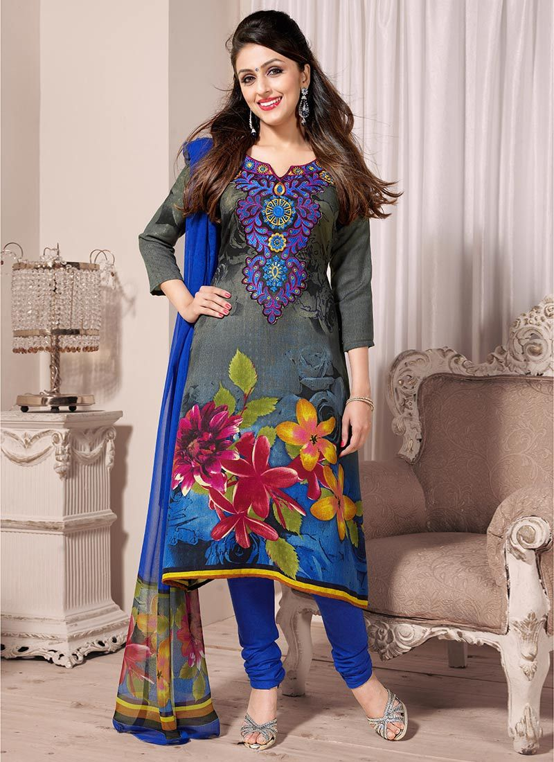 Grey And Blue Printed Churidar Suit
