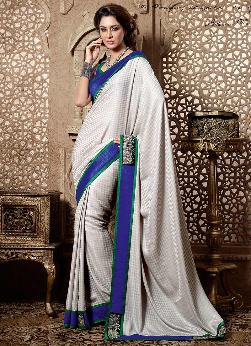 Grey Crepe Jacquard Saree