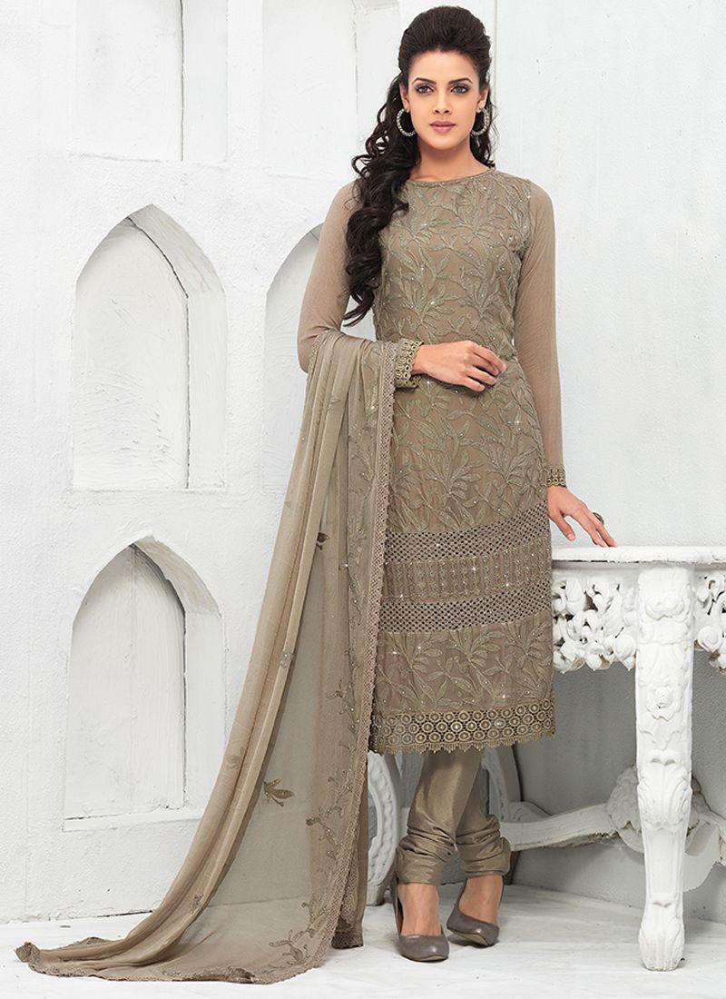 Grey Pure Chiffon Salwar Suit