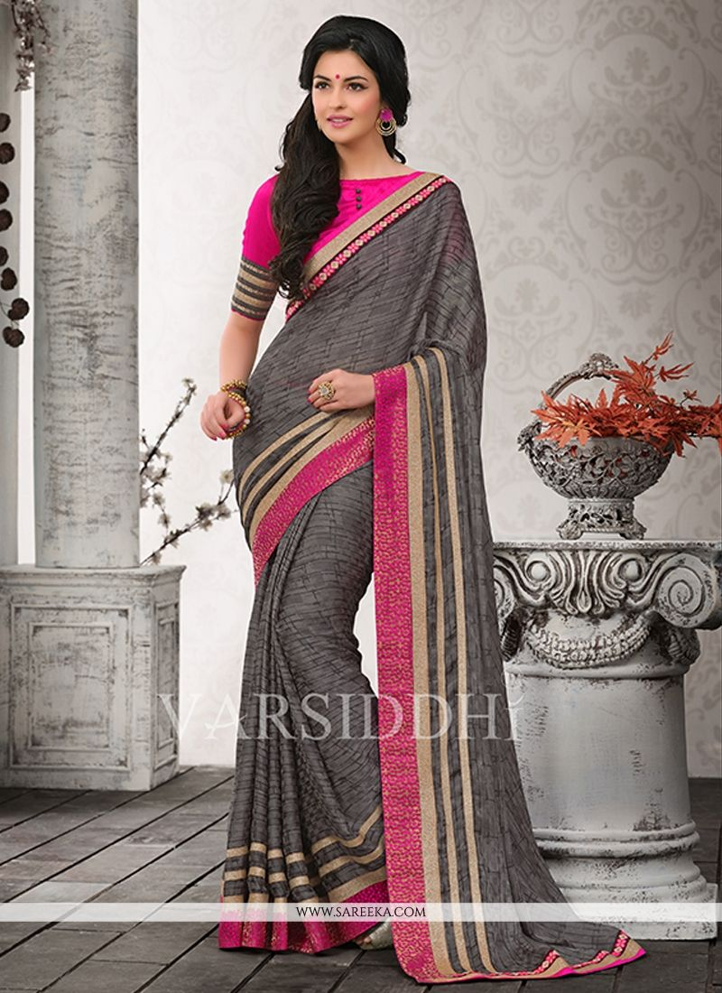 Grey Satin Chiffon Casual Saree