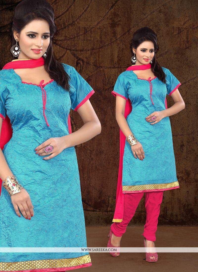 Lace Work Chanderi Cotton Churidar Designer Suit