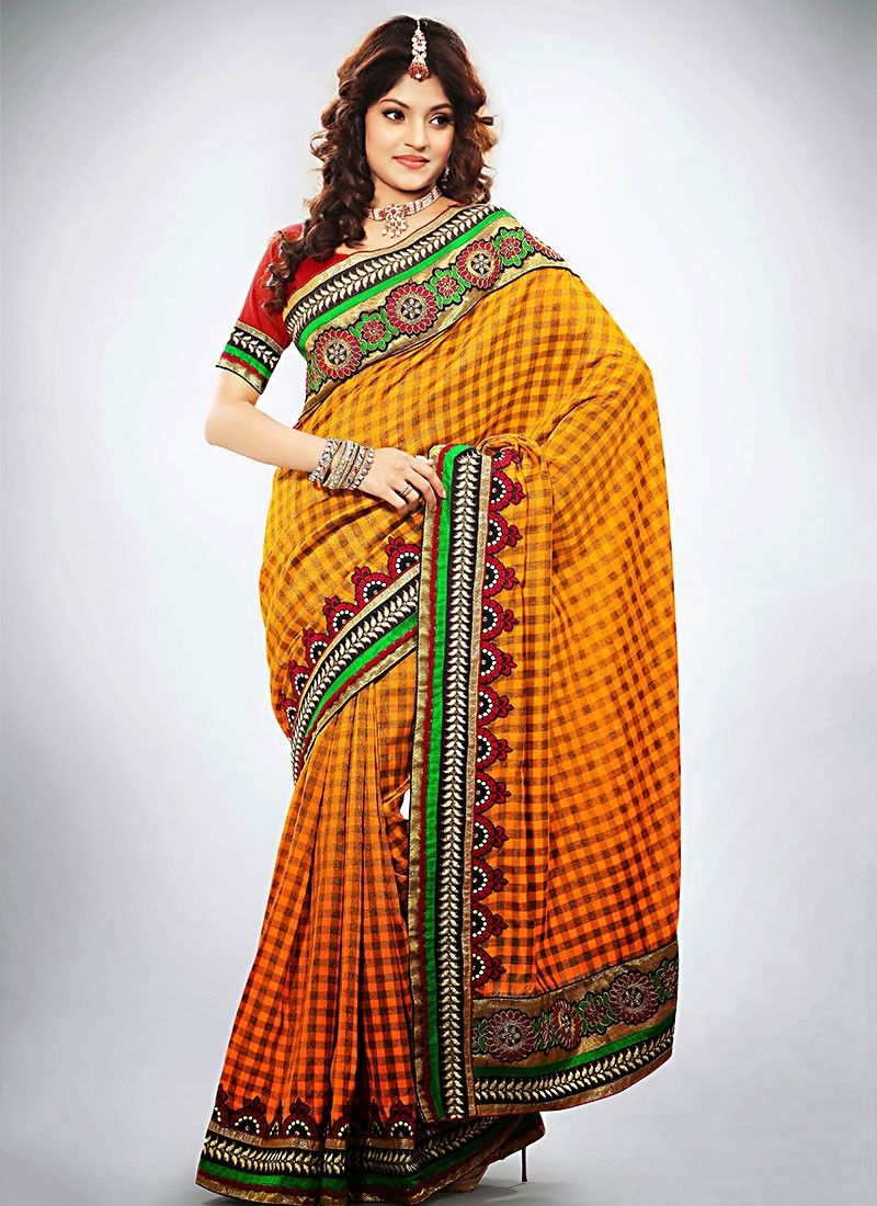 Look Orange Resham Work Saree