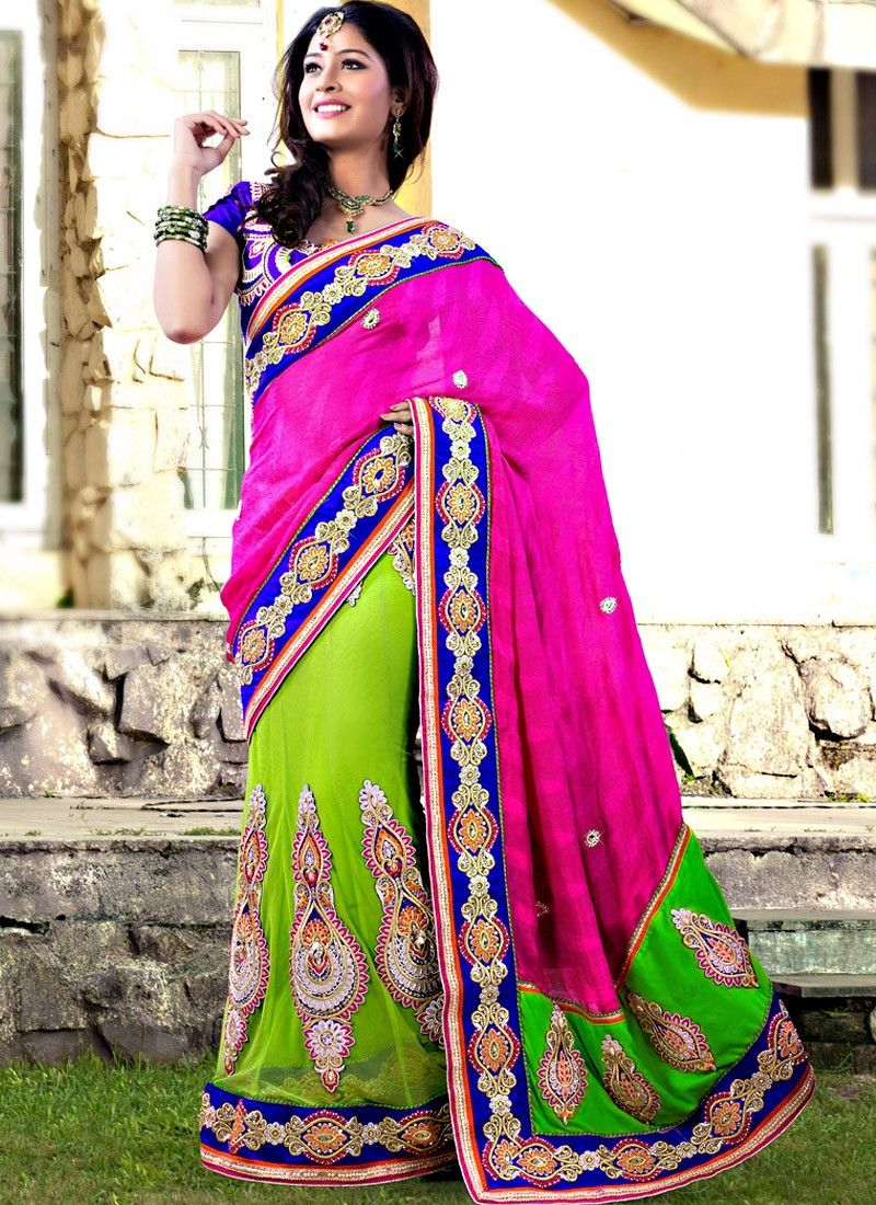 Magenta And Green Georgette Saree