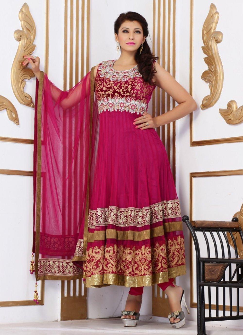 Magenta Reshma Work Velvet Anarkali Suit