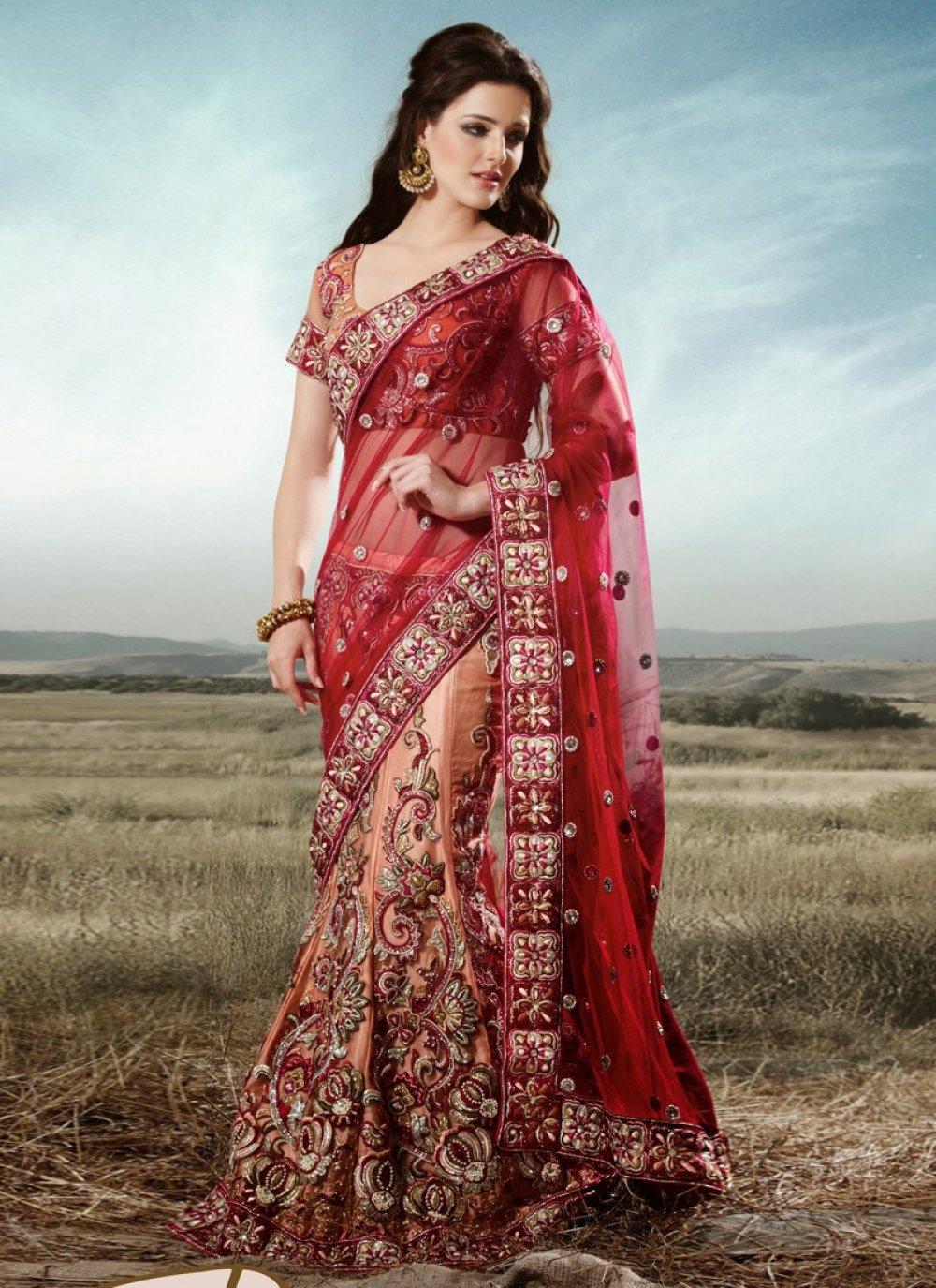 Maroon And Beige Net Bridal Lehenga Choli