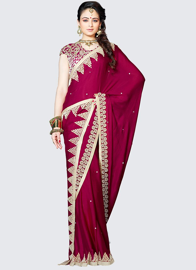Maroon Georgette Embroidered Saree