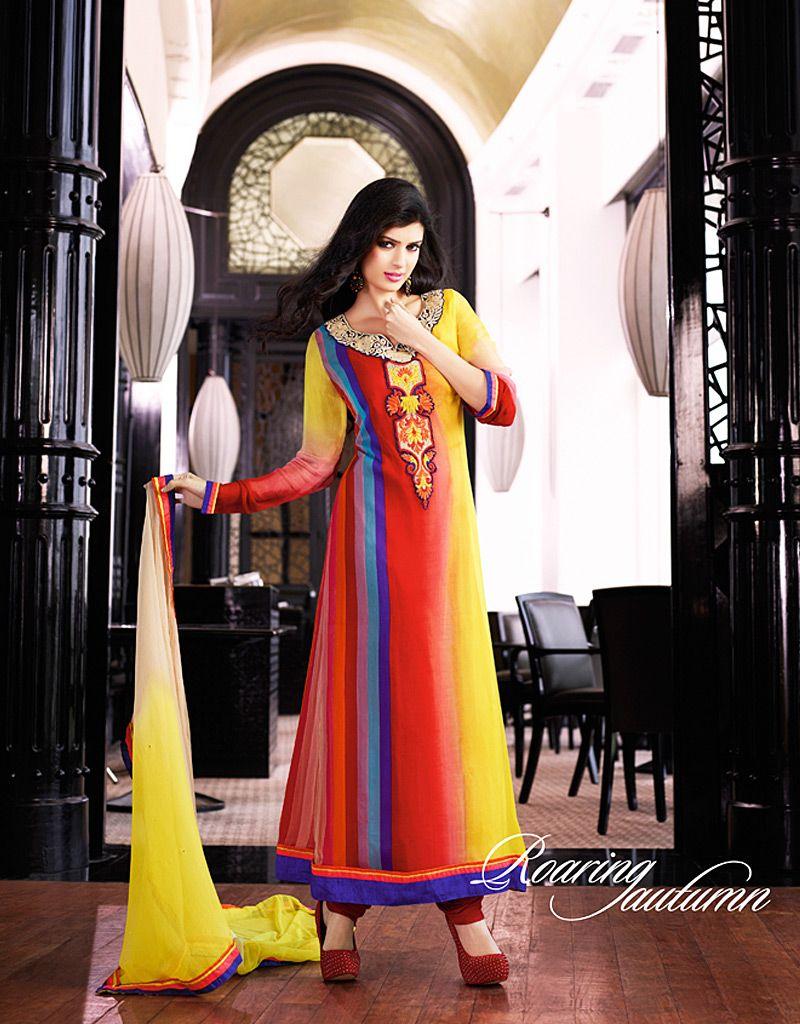 Multicolor Resham Work Net Anarkali Suit