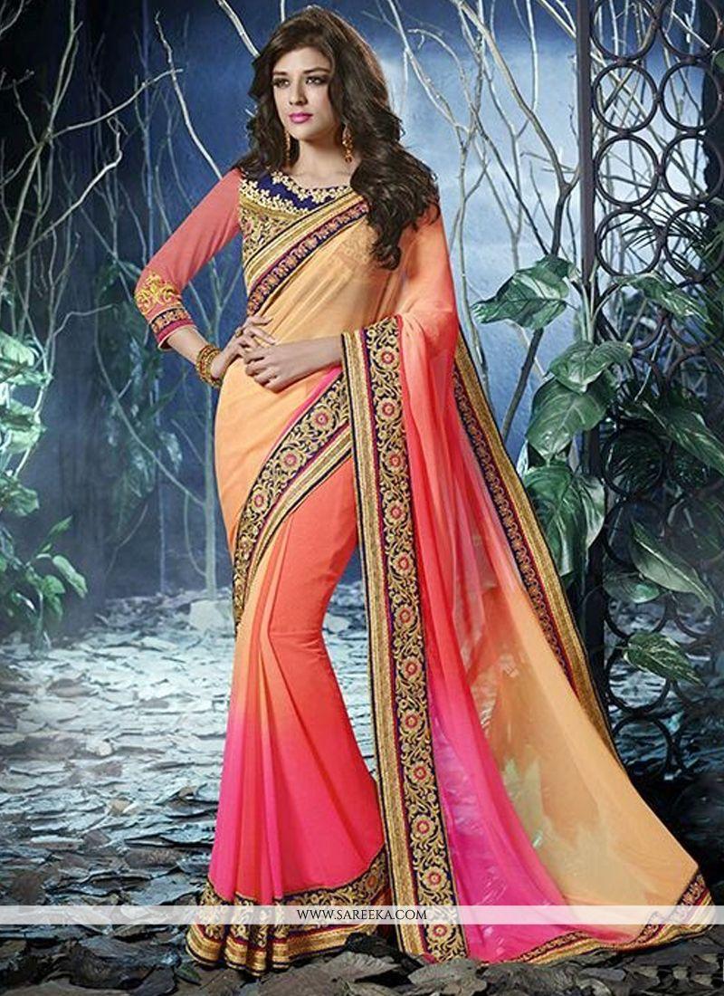 Multicolor Shaded Chiffon Designer Saree