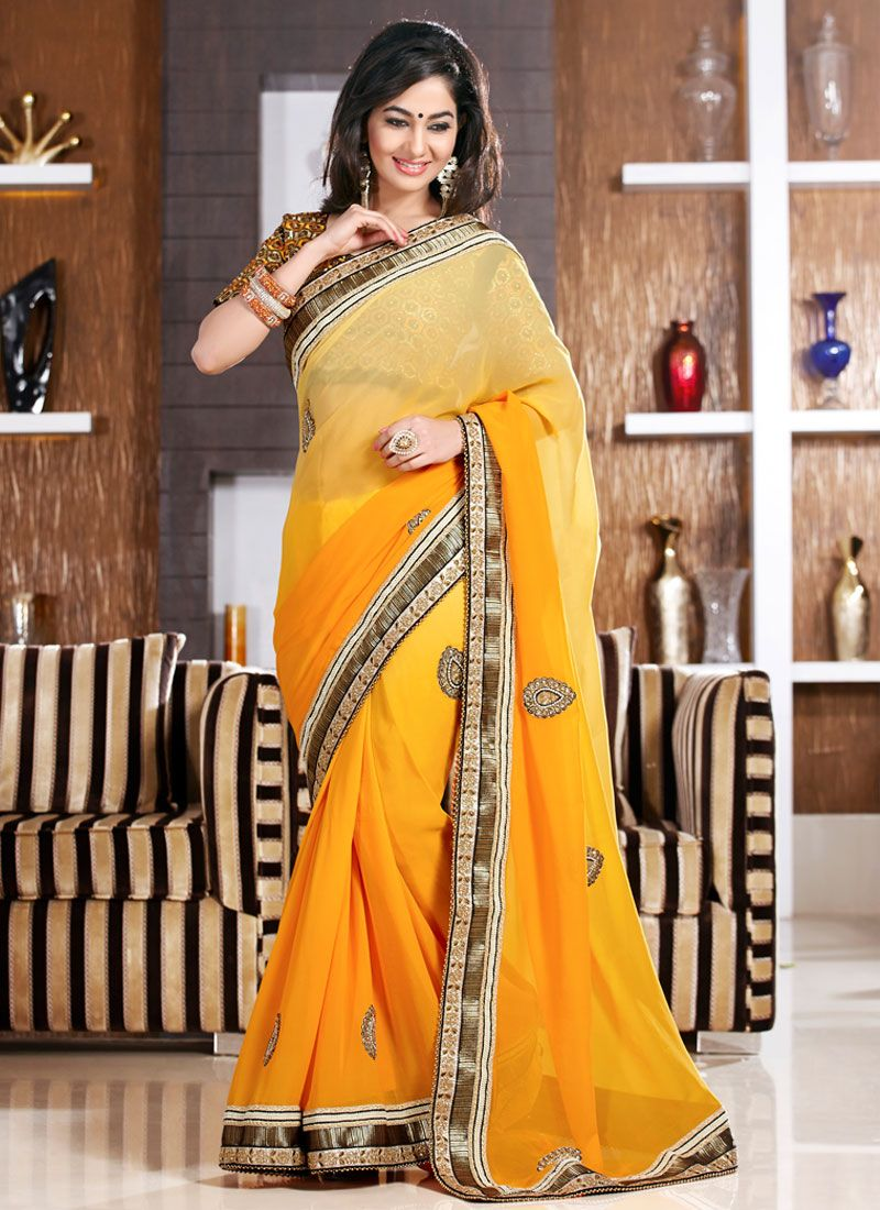 Mustard Embroidery Work Party Wear Saree
