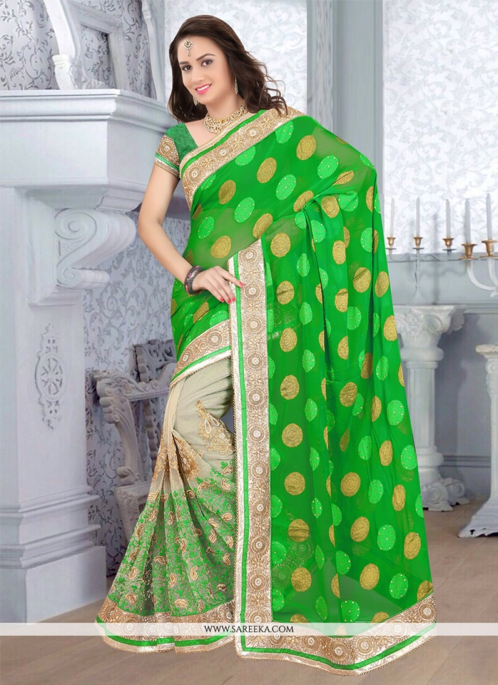 Net Green Patch Border Work Half N Half  Saree