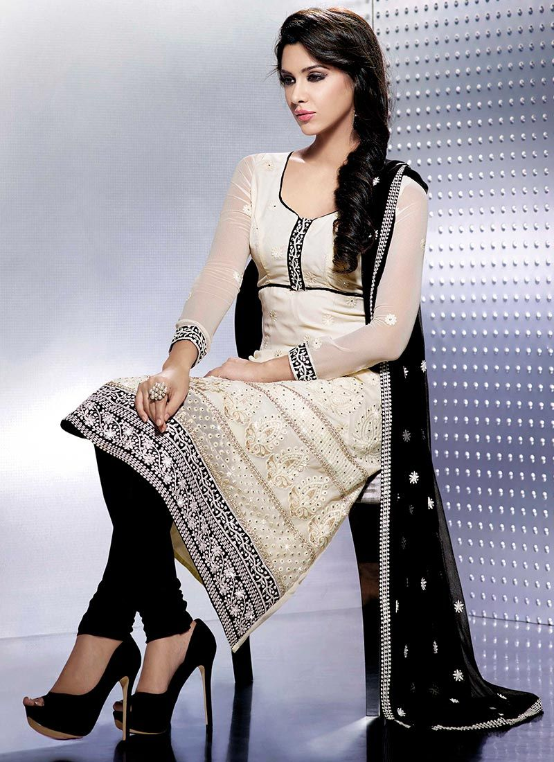 Off White And Black Faux Chiffon Churidar Suit -