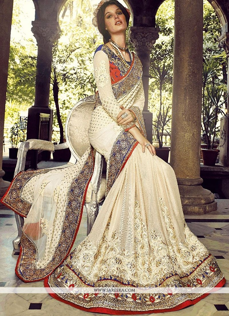 Off White Bember Georgette Designer Saree