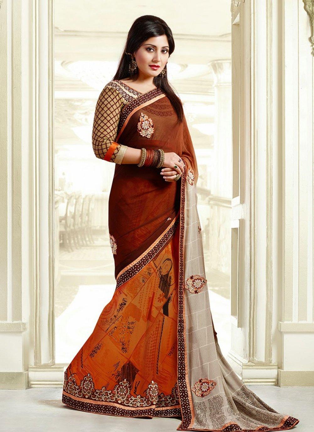 Orange And Brown Border Work Printed Designer Saree