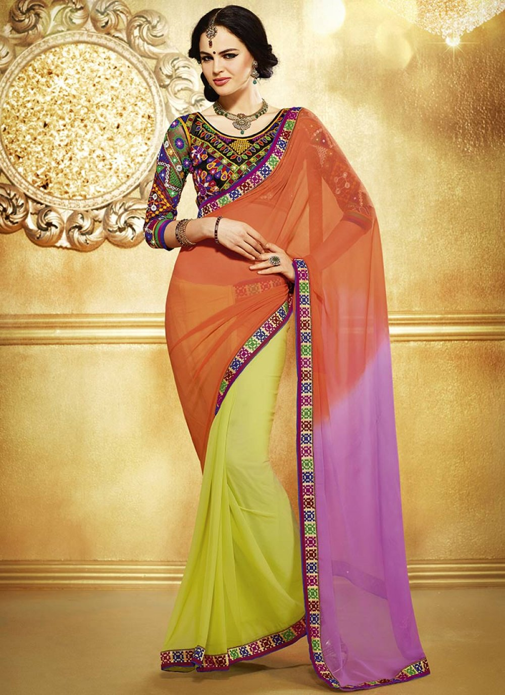 Orange And Yellow Embroidered And Georgette Saree