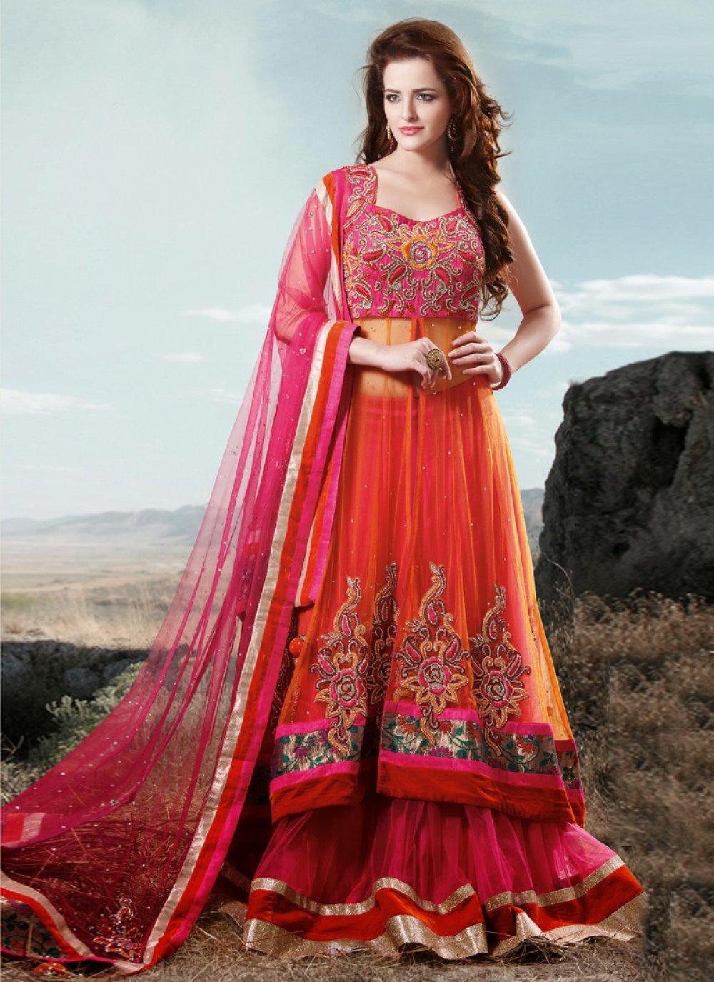 Orange Border Work Bridal Lehenga Choli