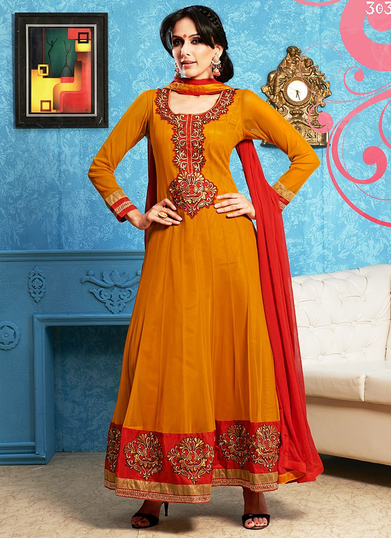 Orange Embroidery Work Anarkali Suit