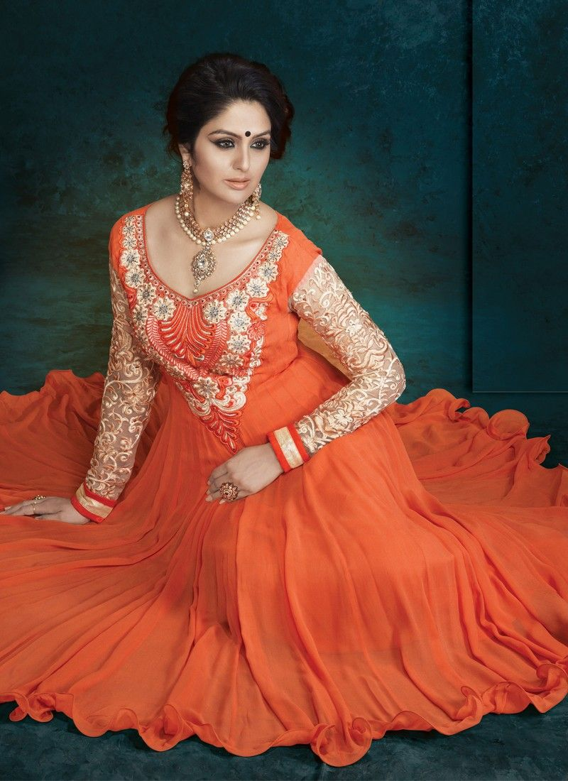 Orange Embroidery Work Georgette Anarkali Suit