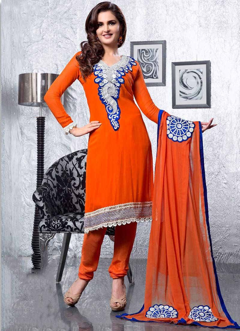 Orange Georgette Churidar Suit