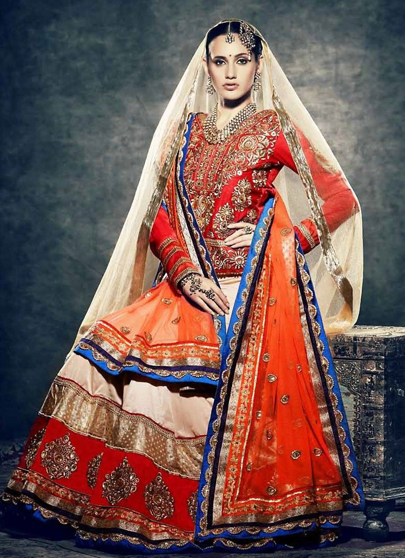Orange Jacket Style Lehenga Choli