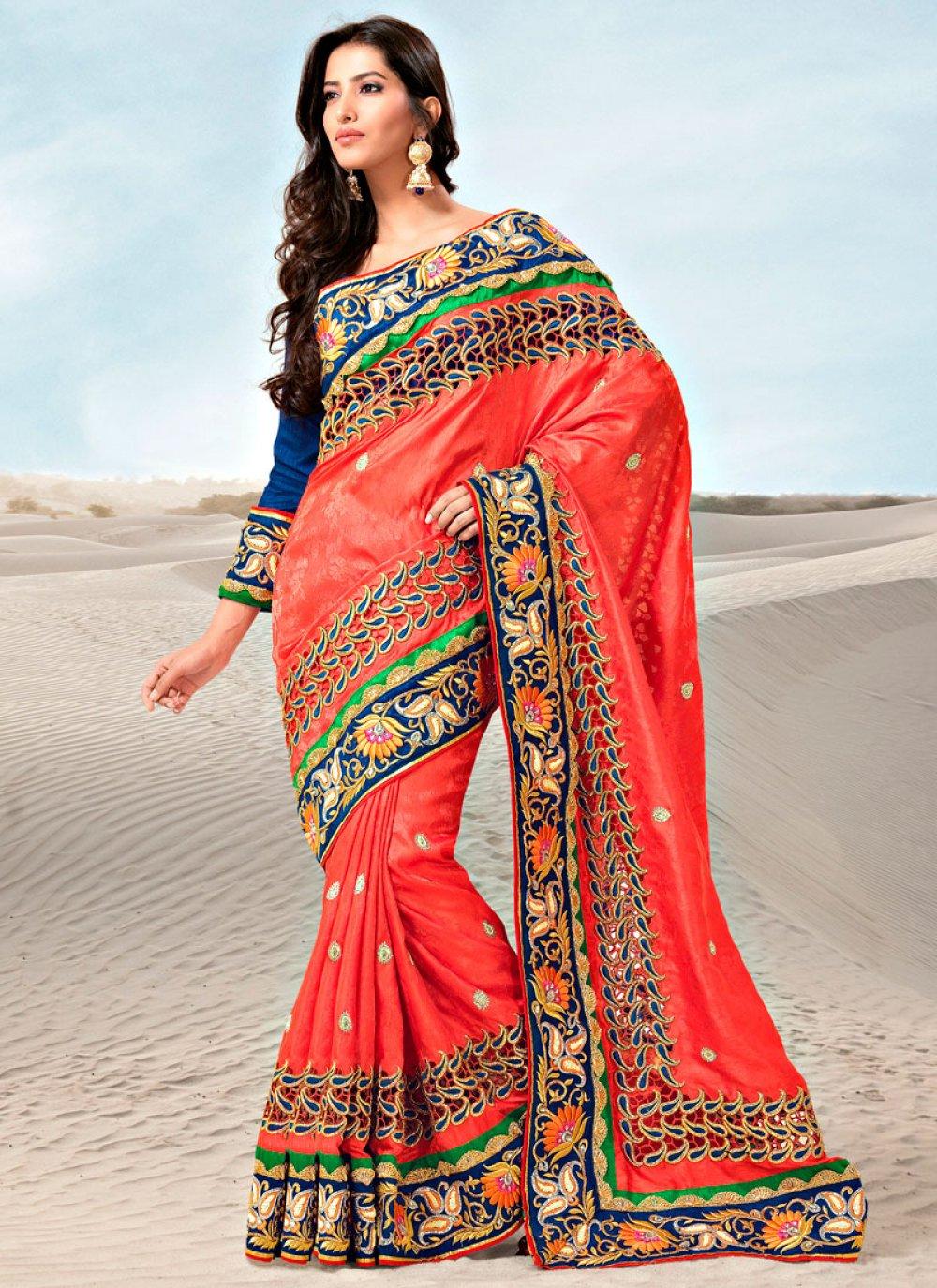 Orange Jacquard Silk Saree