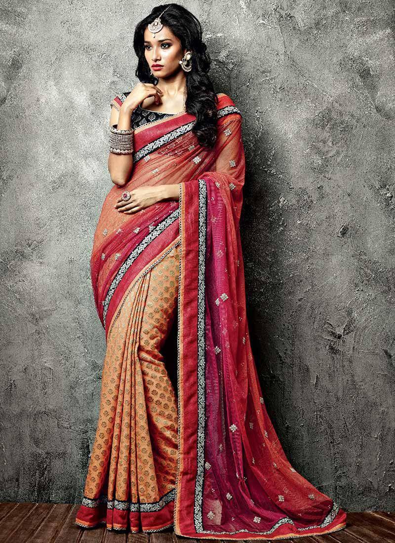 Orange Net IIFA Zari Enhanced Saree