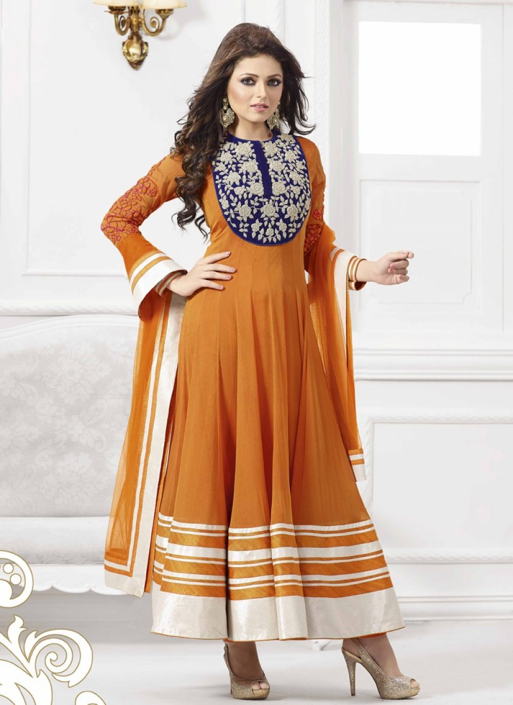 Orange Resham Work Anarkali Suit
