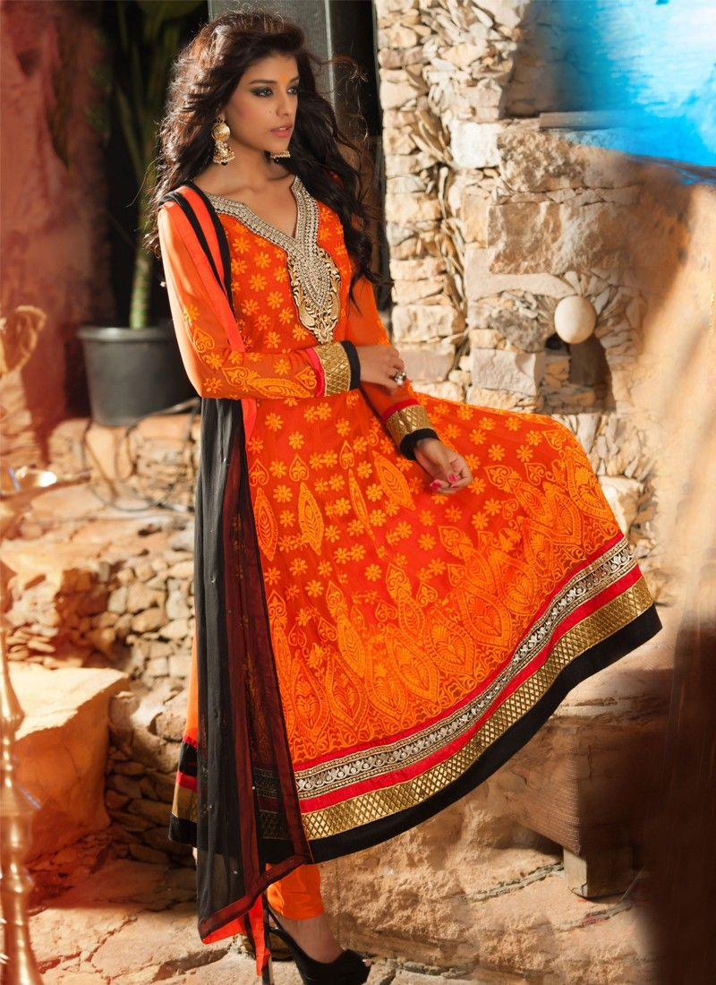 Orange Senton Anarkali Suit