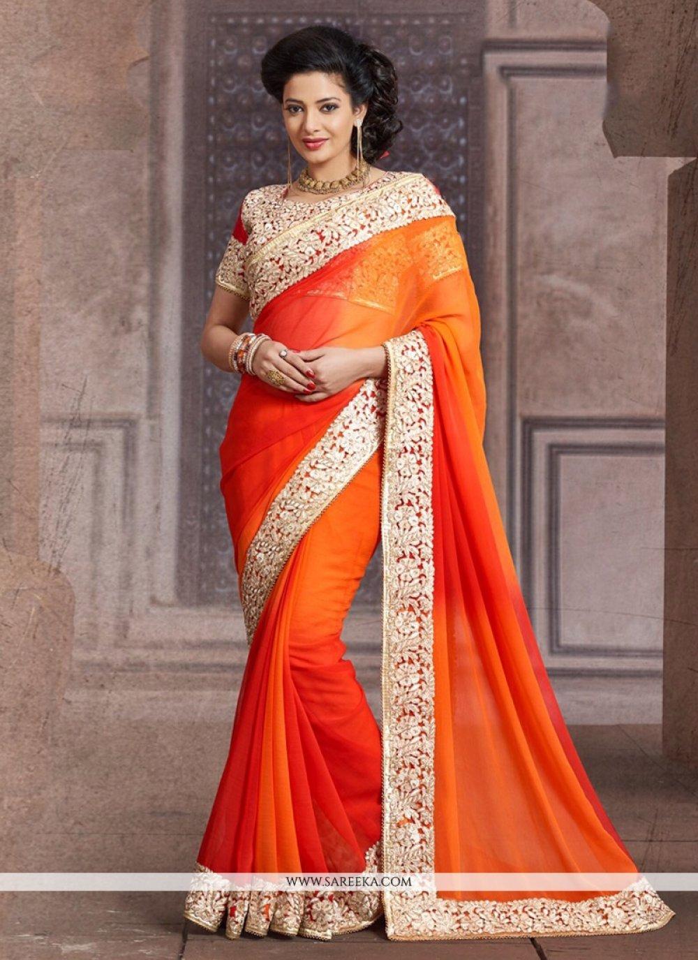 Orange Shaded Designer Saree