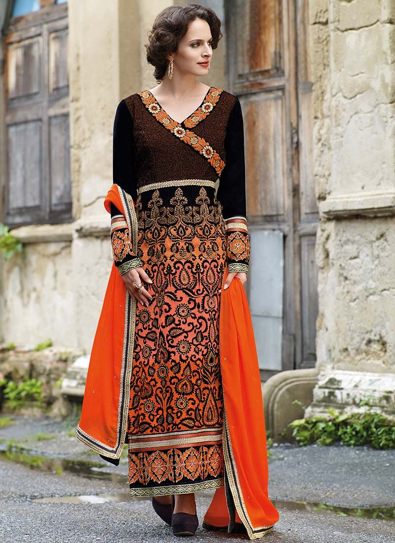 Orange Velvet Ankle Length Anarkali Suit