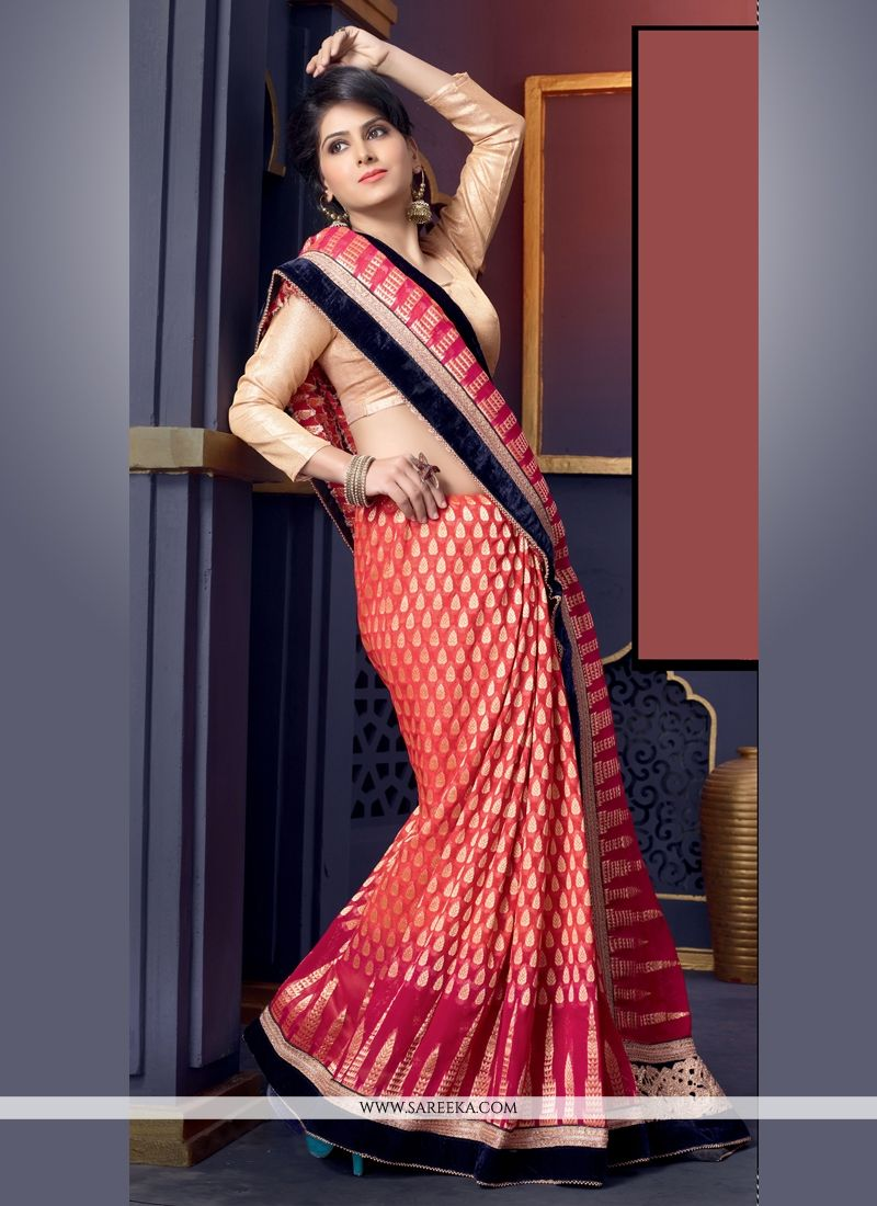 Orange Viscose Designer Saree