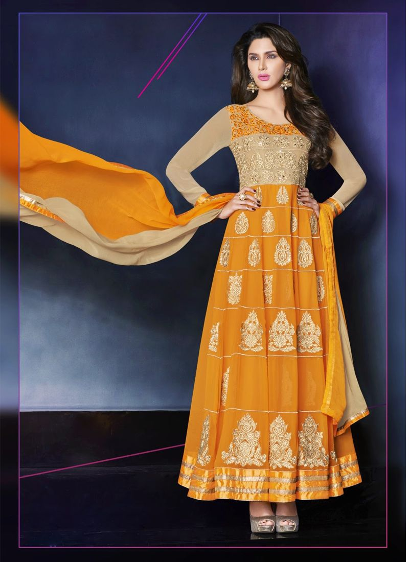 Orange Zari Anarkali Salwar Suit
