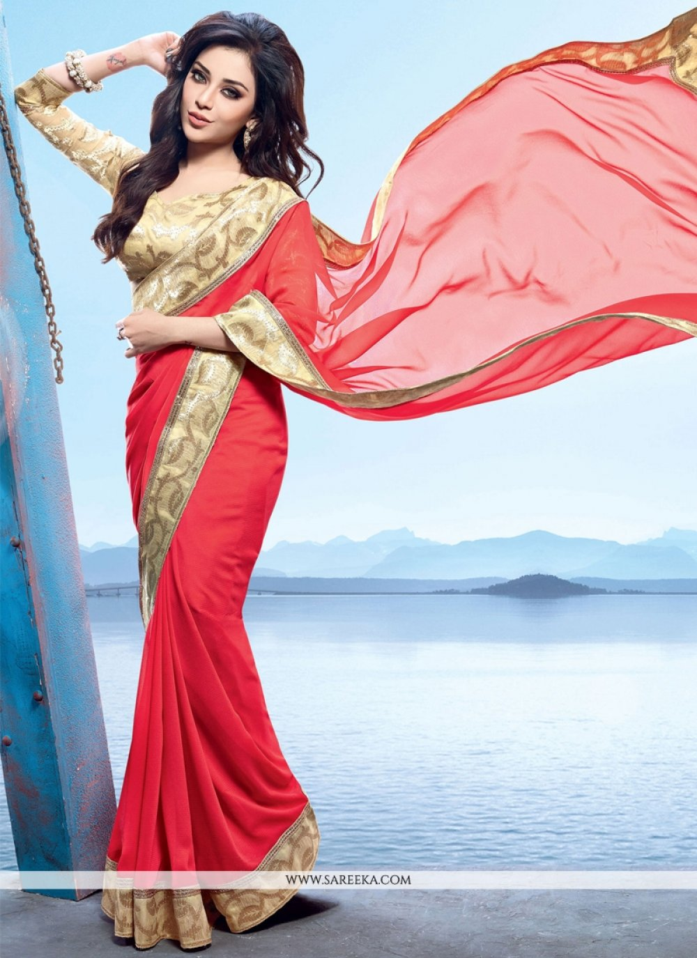 Patch Border Work Georgette Contemporary Style Saree