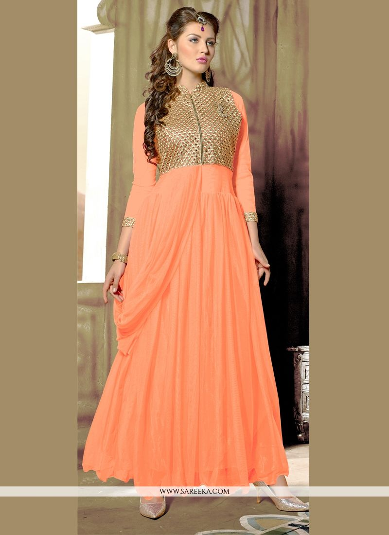 Peach Net Designer Gown