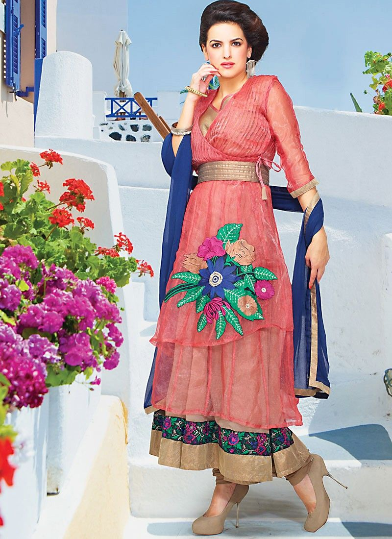 Peach Tissue Anarkali Suit