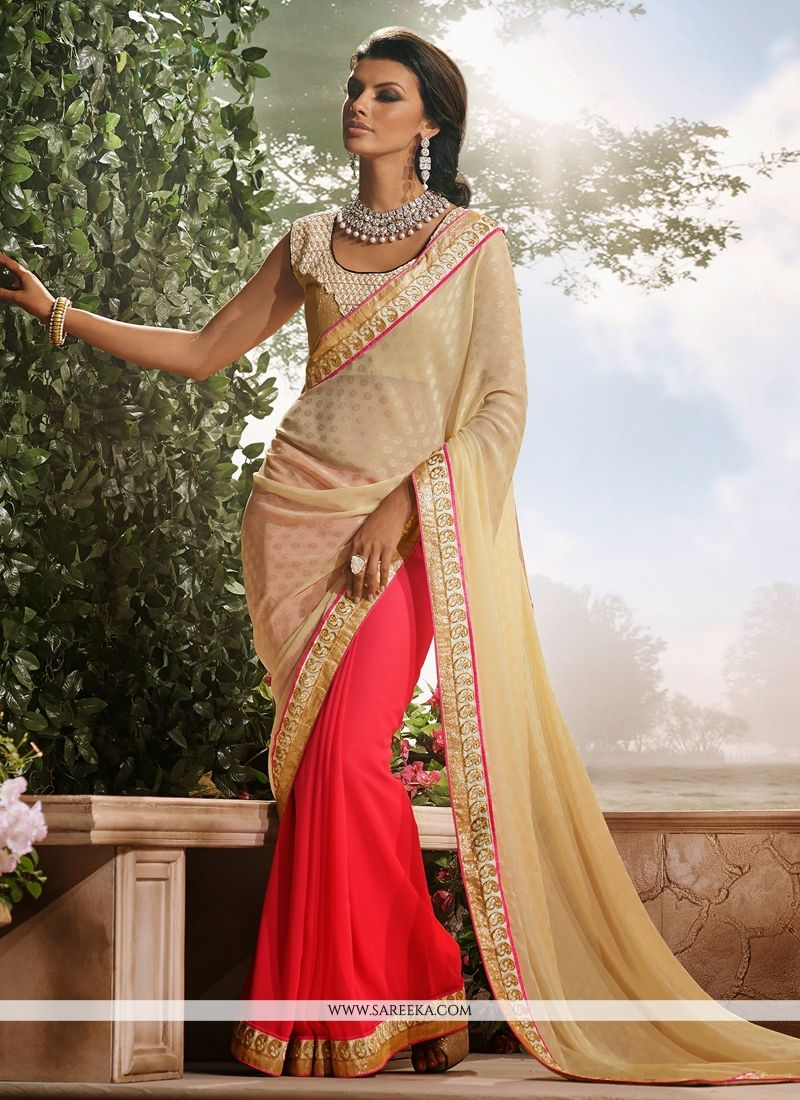 Pink And Cream Georgette Half And Half Saree