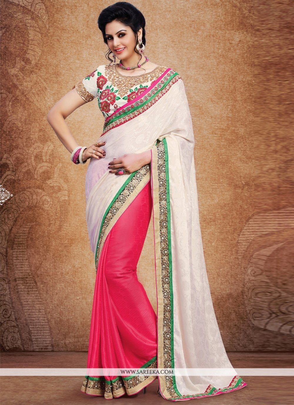 Pink and White Designer Saree