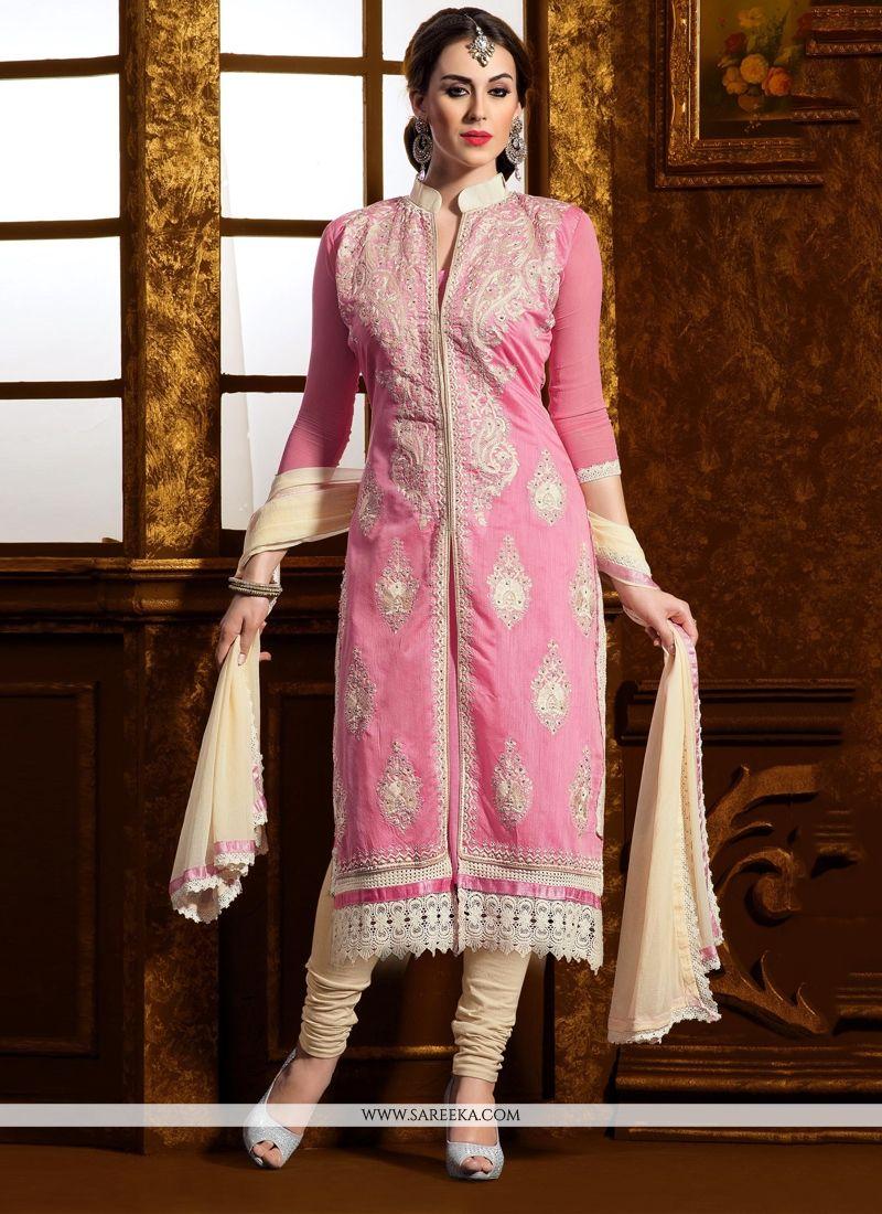 Pink Chanderi Cotton Silk Churidar Suit