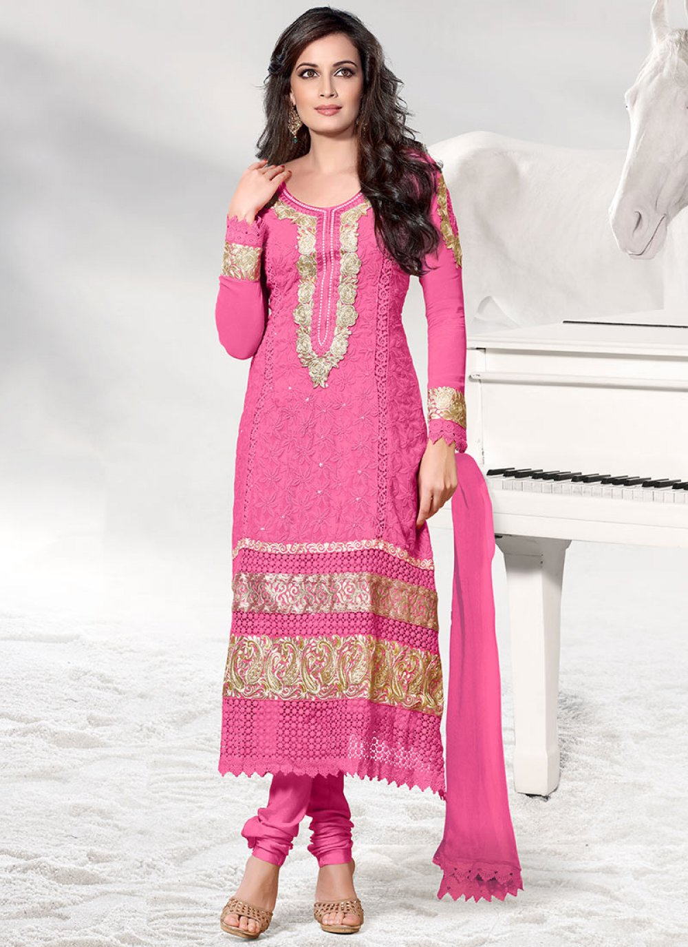 Pink Dia Mirza Embroidered Churidar Suit