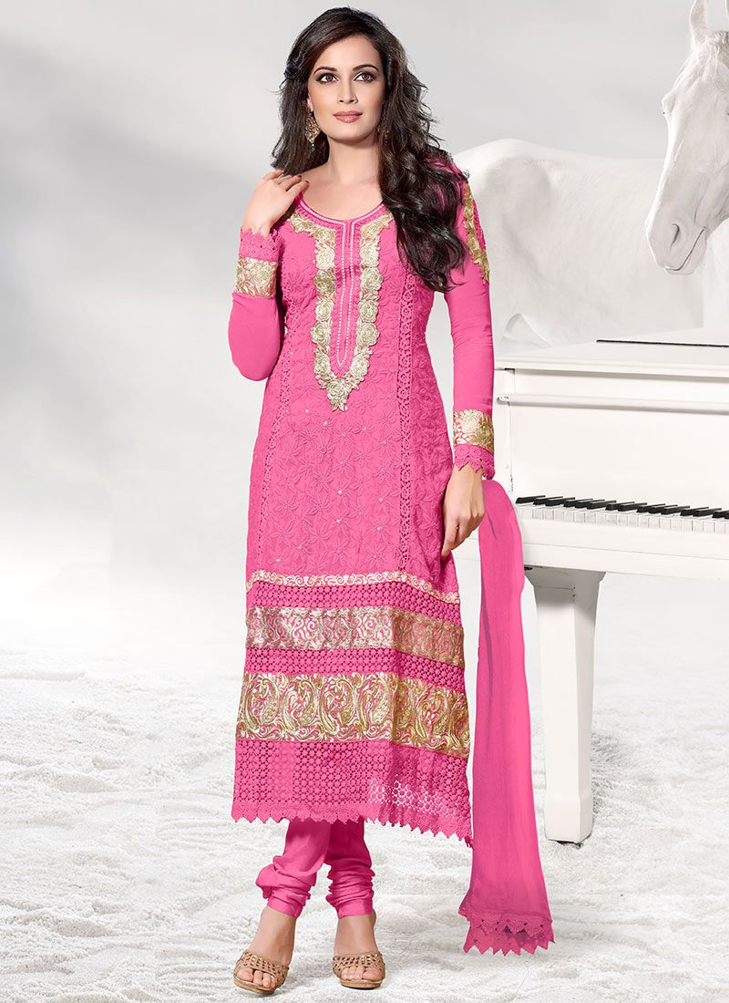 Pink Dia Mirza Embroidered Churidar Suit