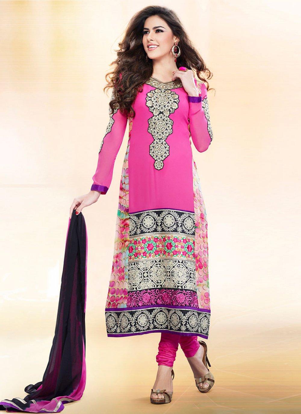 Pink Faux Georgette Churidar Suit