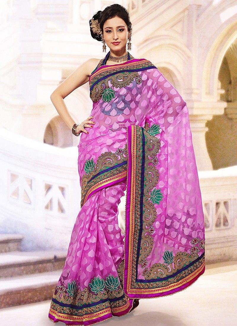 Pink Jacquard Net Saree