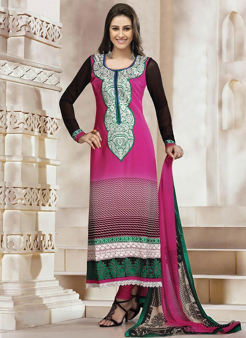Pink Printed Churidar Suit