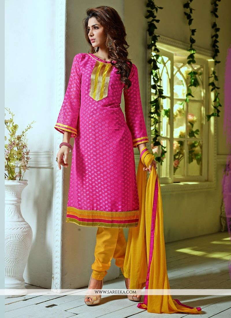 Pink Pure Jacquard Churidar Suit