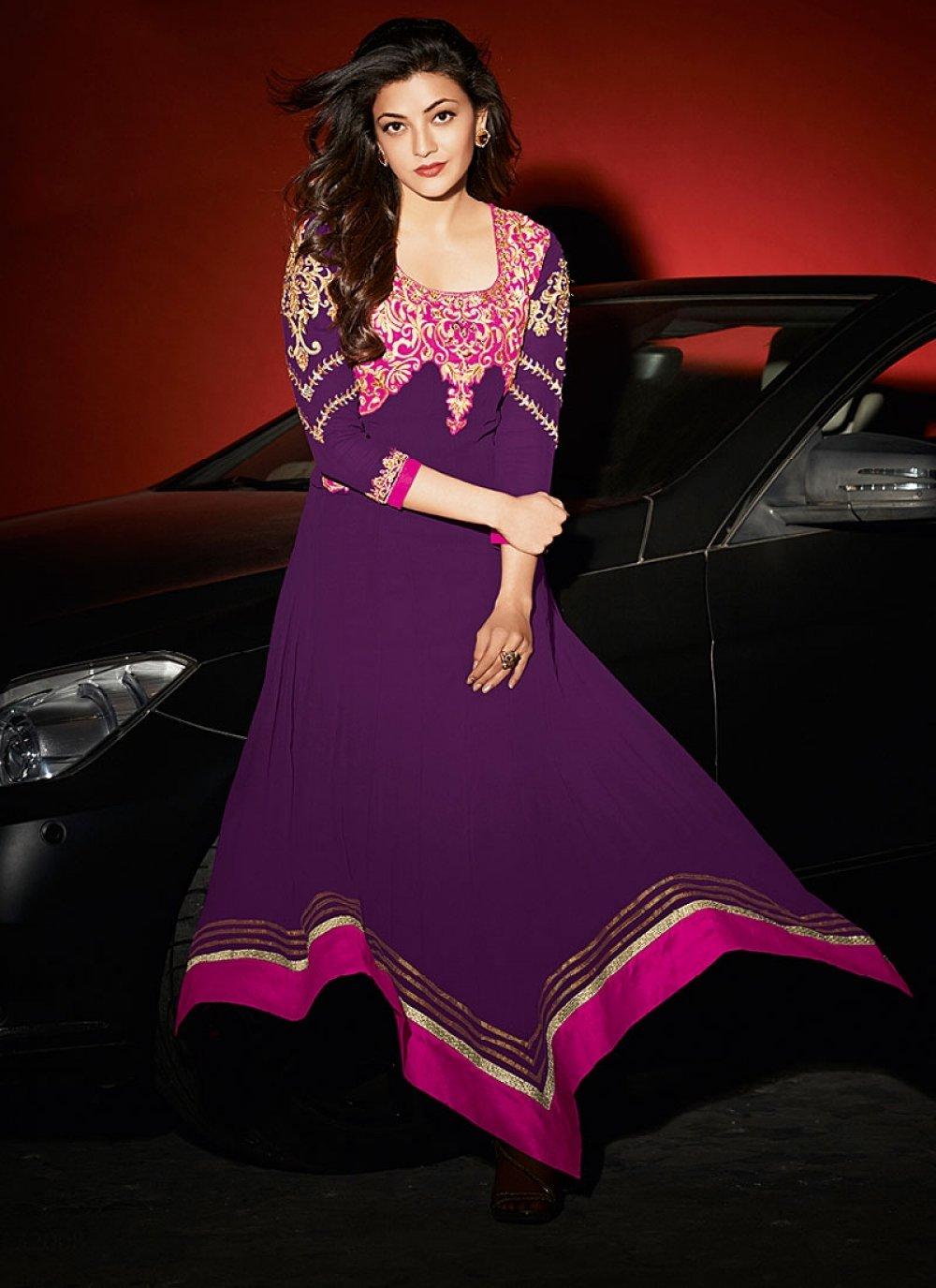 Purple Patch Border Work Georgette Anarkali Suit