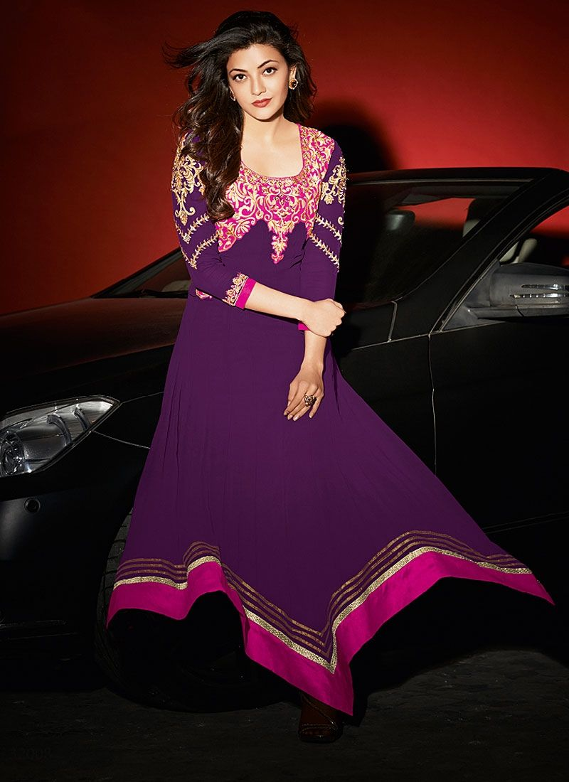Purple Patch Border Work Georgette Anarkali Suit