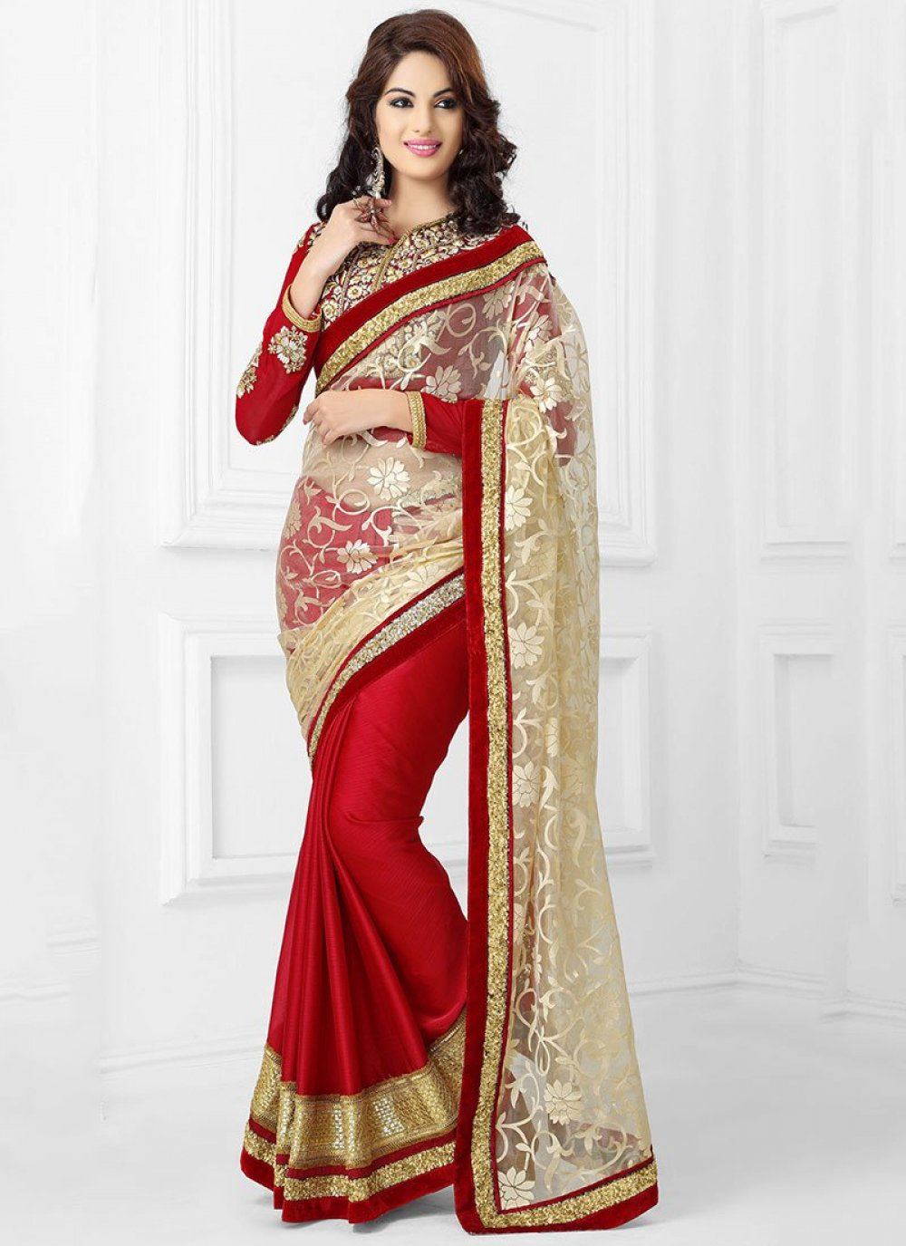 Red And Beige Net Saree