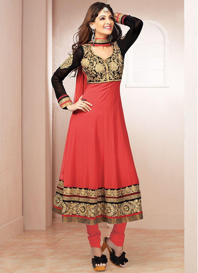 Red And Black Resham Work Anarkali Suit