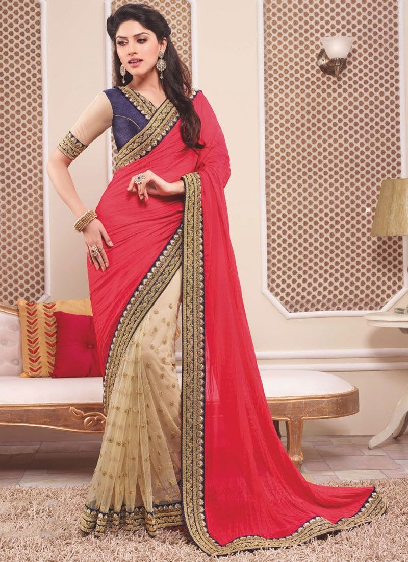 Red And Cream Georgette Saree