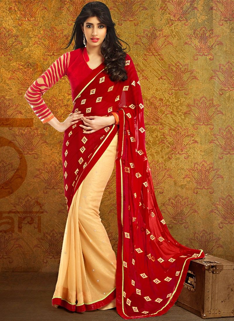 Red And Cream Shaded Half And Half Saree
