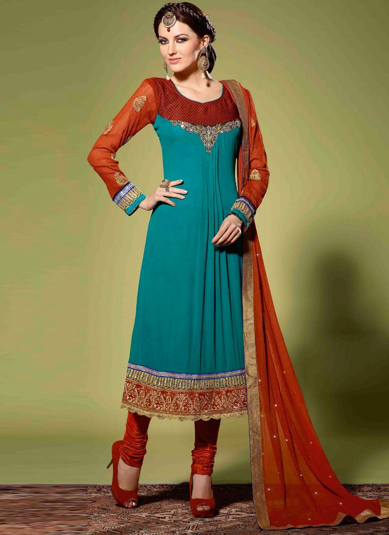 da9deb3eaf Red And Teal Green Colour Georgette Churidar Suit -
